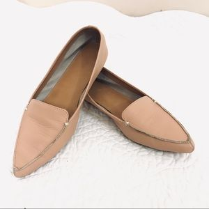 J. Crew Shoes - J Crew Flat Loafers Pointed Toe Leather Edie Tan